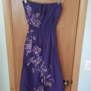 Vintage Purple Floral Strapless Dress Deadstock 7